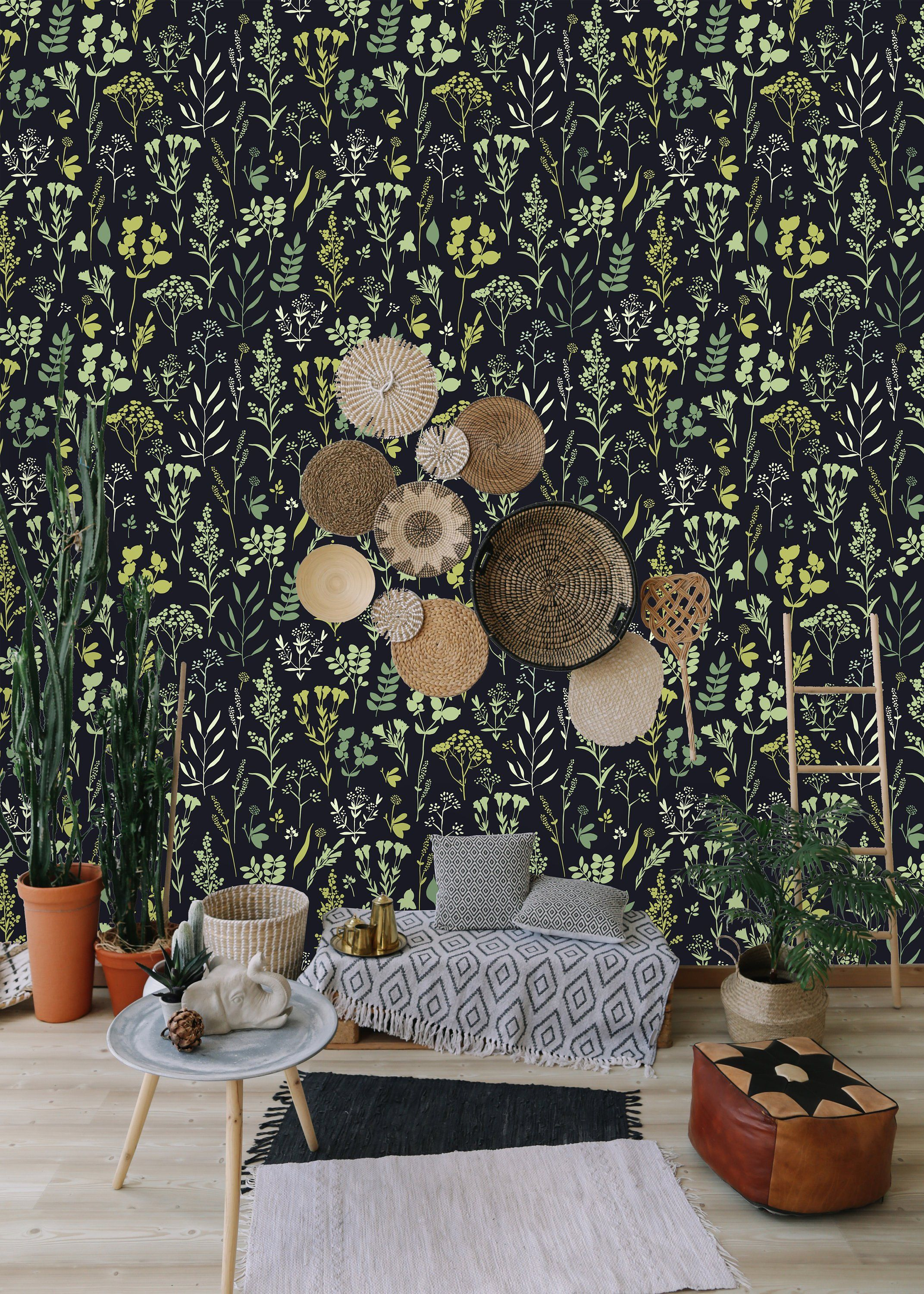 Herbs And Floral Motifs Removable Wallpaper Peel And Stick Wallpaper Wall Mural Self Adhesive Wallp Peel Stick Wallpaper Self Adhesive Wallpaper Wall Wallpaper
