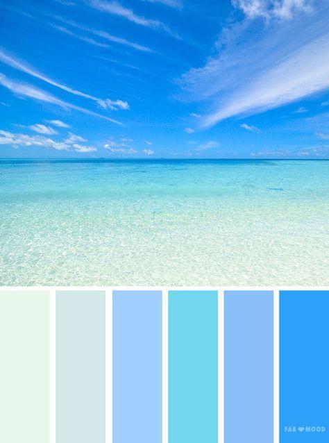 Blue sea inspired color palette, color scheme. Find wedding color inspiration for every season ,winter hues ,summer wedding color scheme,autumn wedding color palette,wedding color schemes inspired by landscape
