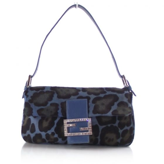 8b168c8979c Fendi Baguette in leopard print pony hair with blue leather strap and trim.