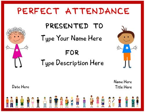 Education Certificate Certificate for Perfect Attendence – Attendance Certificates Printable