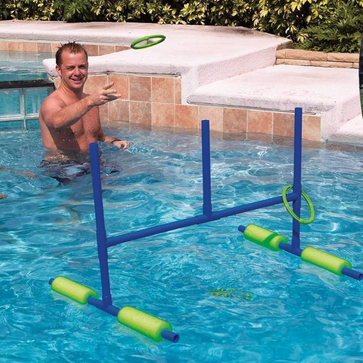 Pool ring toss for the pool my husband made our out of pvc and pool noodles we used florescent for Swimming pool games for kids ideas
