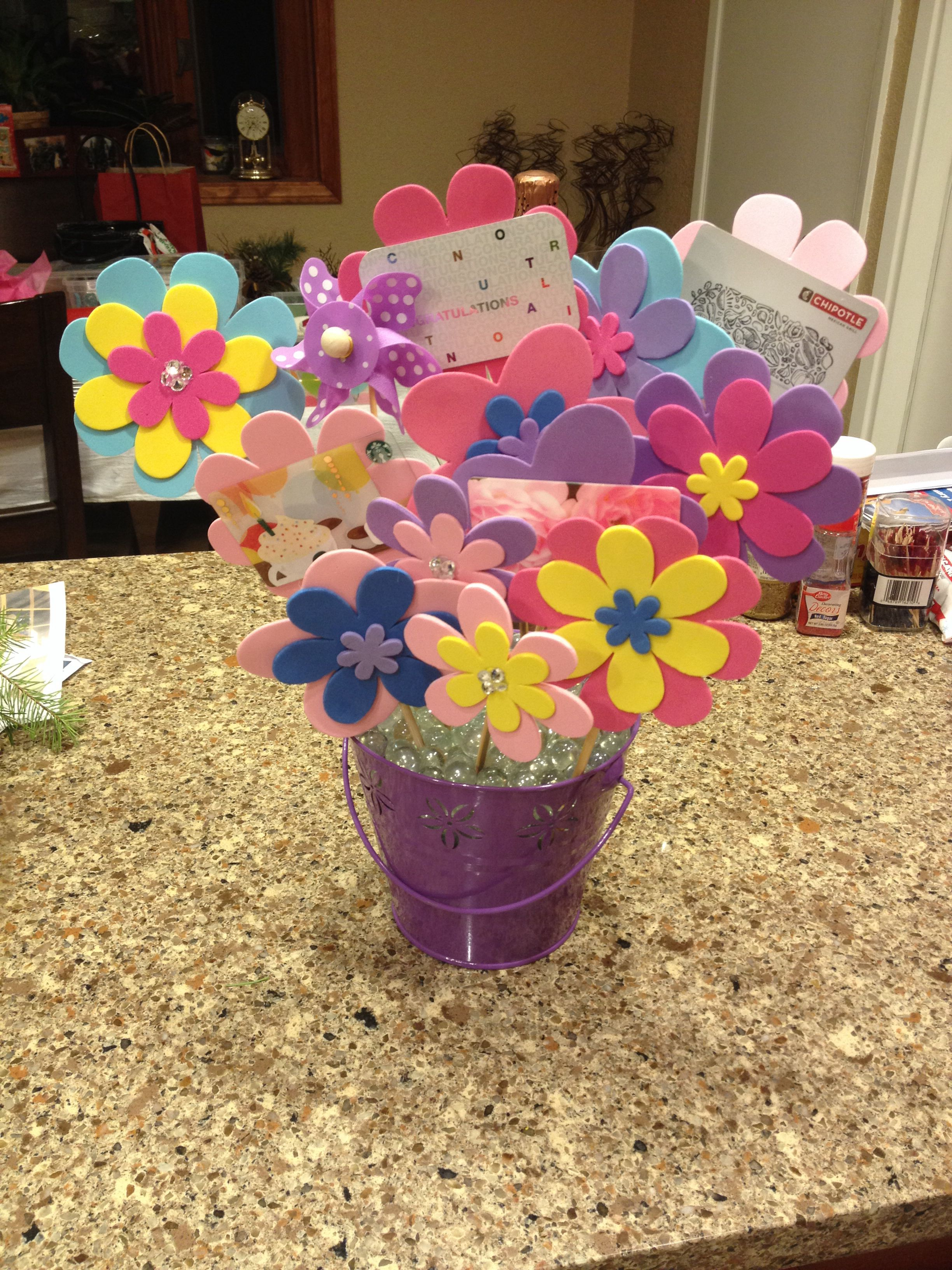 Gift card flower bouquet a friend made me for my
