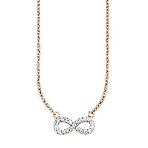 sOliver-Damen-Kette-mit-Anhnger-925-Silber-teilvergoldet-Zirkonia-transparent-45-cm-508025