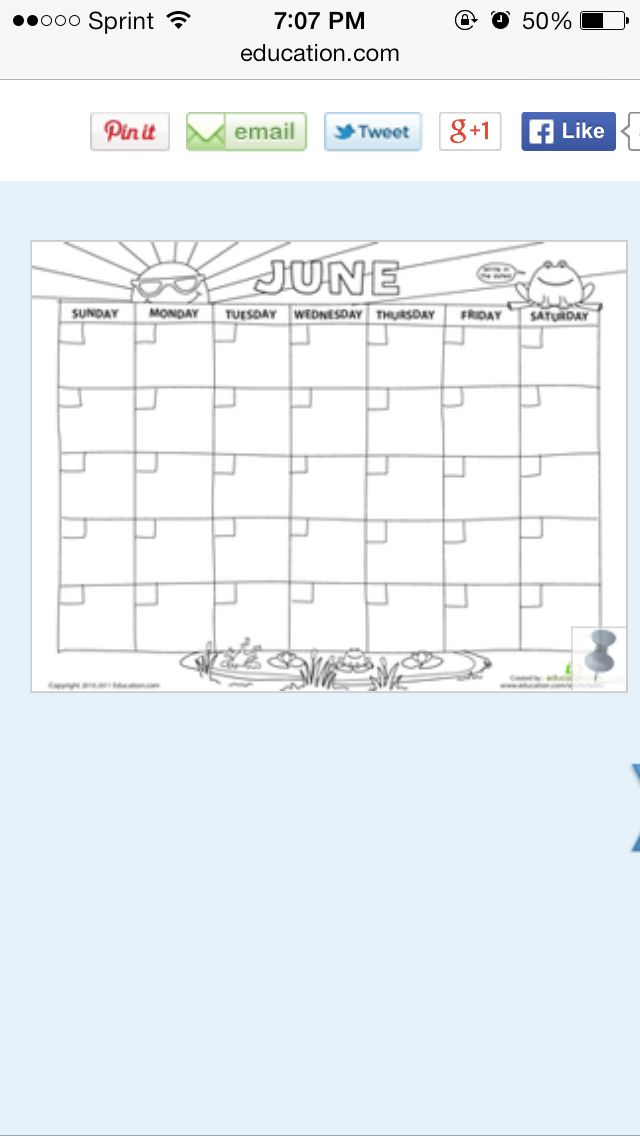 June Calendar  Teachers Class Room    Class Room And