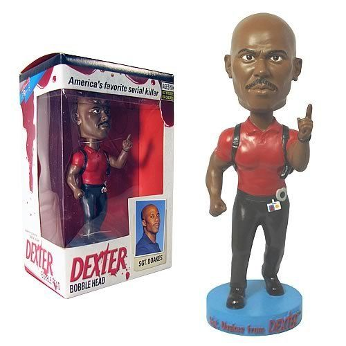 Bif Bang Pow! Dexter Bobble Head Sgt. Doakes by Bif Bang Pow!. $13.99. This guy has always been suspicious of Dexter, so don't let him catch you doing anything stupid... like passing on ordering him!. From the Showtime TV series Dexter.. The tough-as-nails homicide detective is uncannily captured as this 7-inch tall, resin bobble head with gun belt and badge, busting with attitude.. Don't let Sgt. Doakes catch you doing anything stupid! Formerly Special Forces...