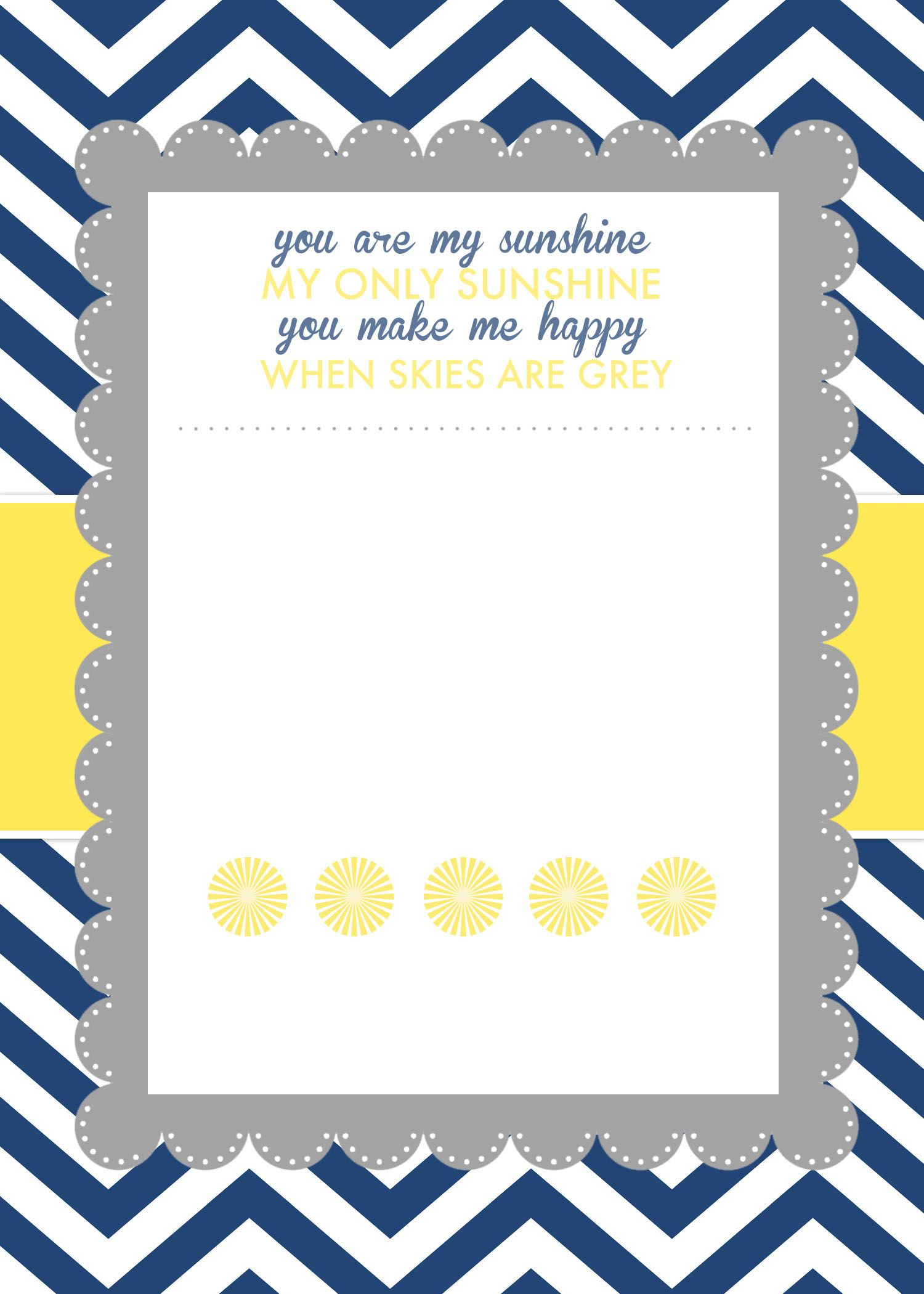 You Are My Sunshine Baby Shower Printables | Baby shower invitation ...