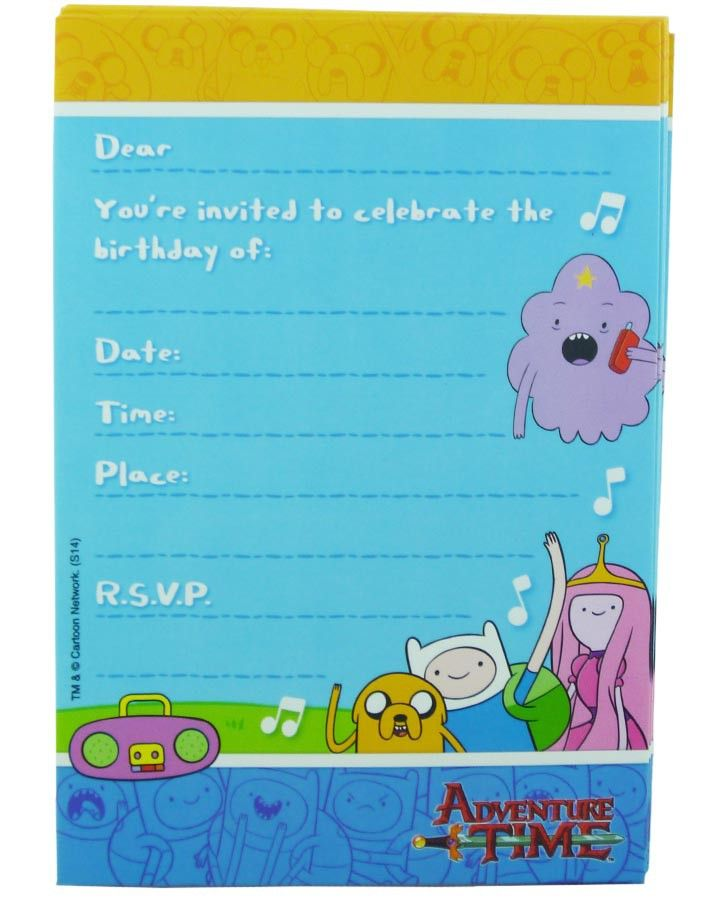 Adventure Time Party Invitations Pack Of 8 Supplies
