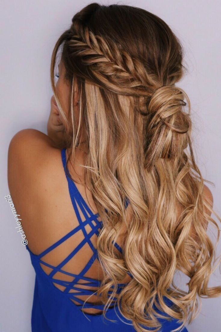 Fishtail Braid Into Bun Half Up Half Down Hairstyle Datenight Hair Fishtail Hairstyles Hair Styles Half Up Hair