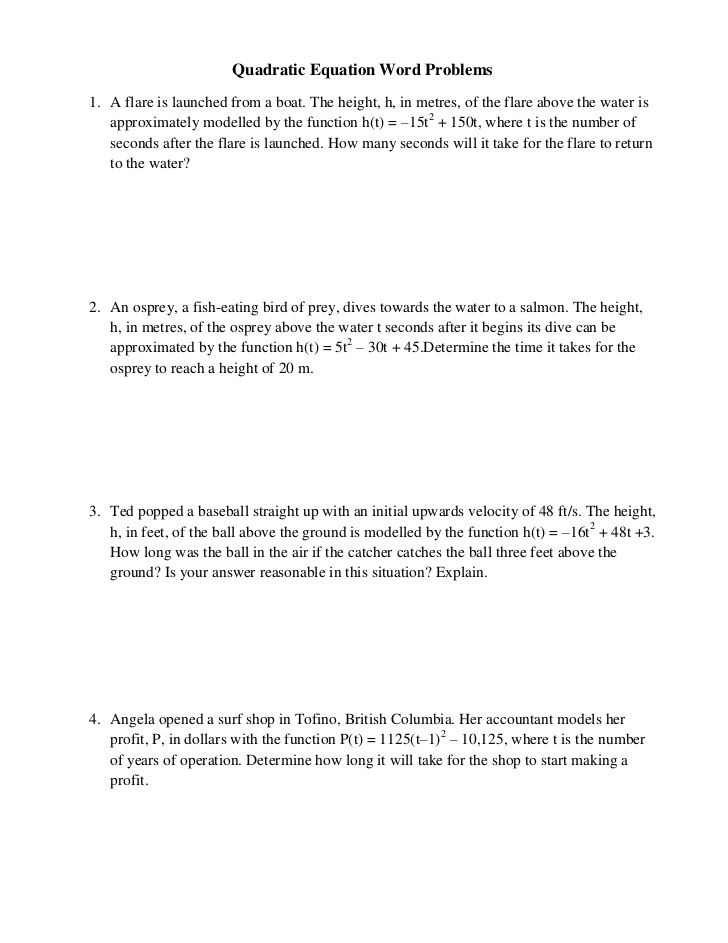 Quadratic Equation Word Problems1 A flare is launched from a boat – Quadratic Equations Worksheet with Answers