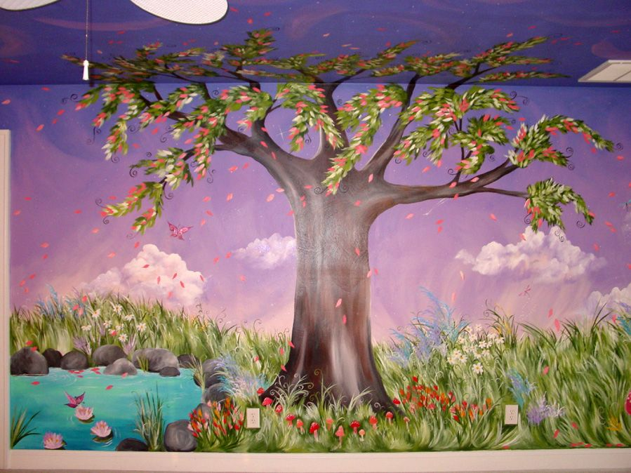 Jaden 39 s dreaming tree custom murals hand painted for Fairy garden mural