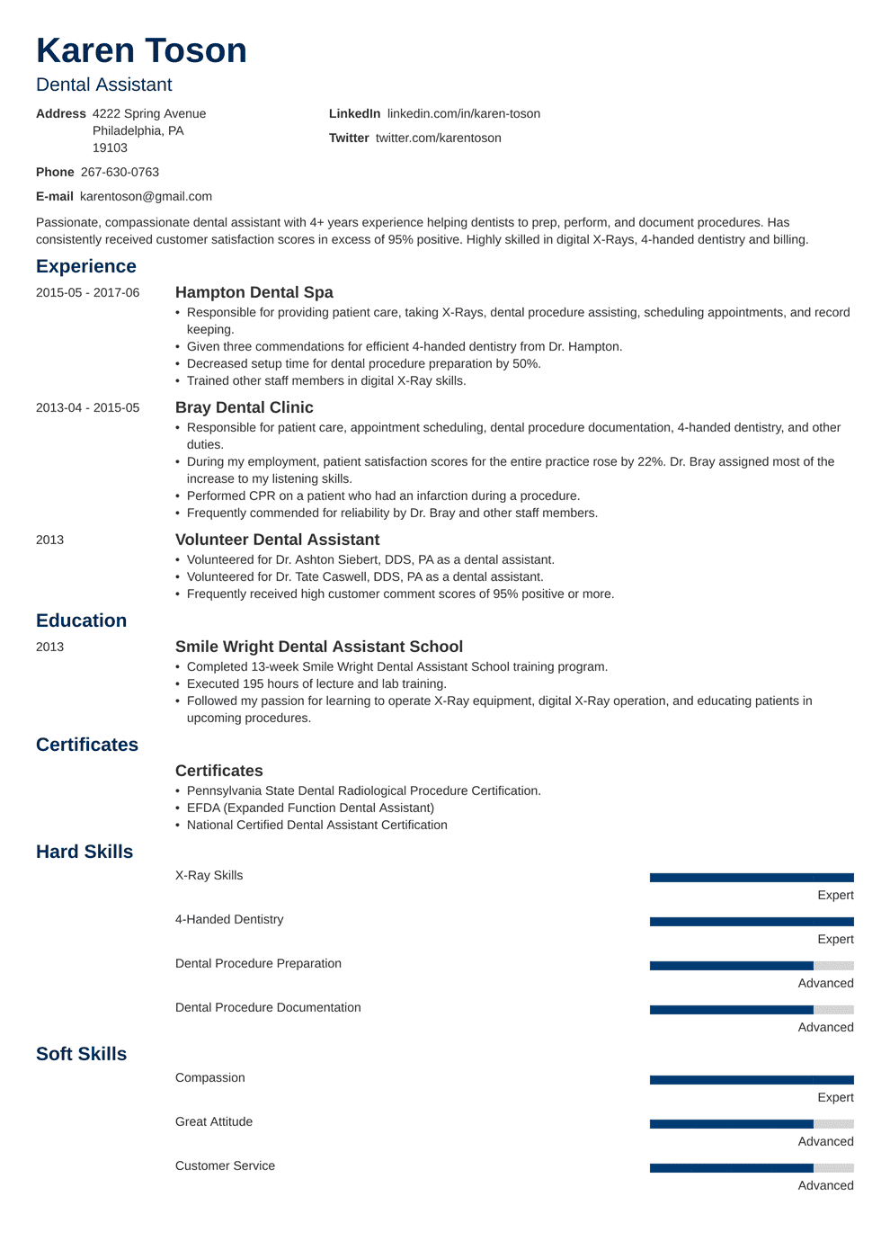 dental assistant resume template minimo in 2020 Student