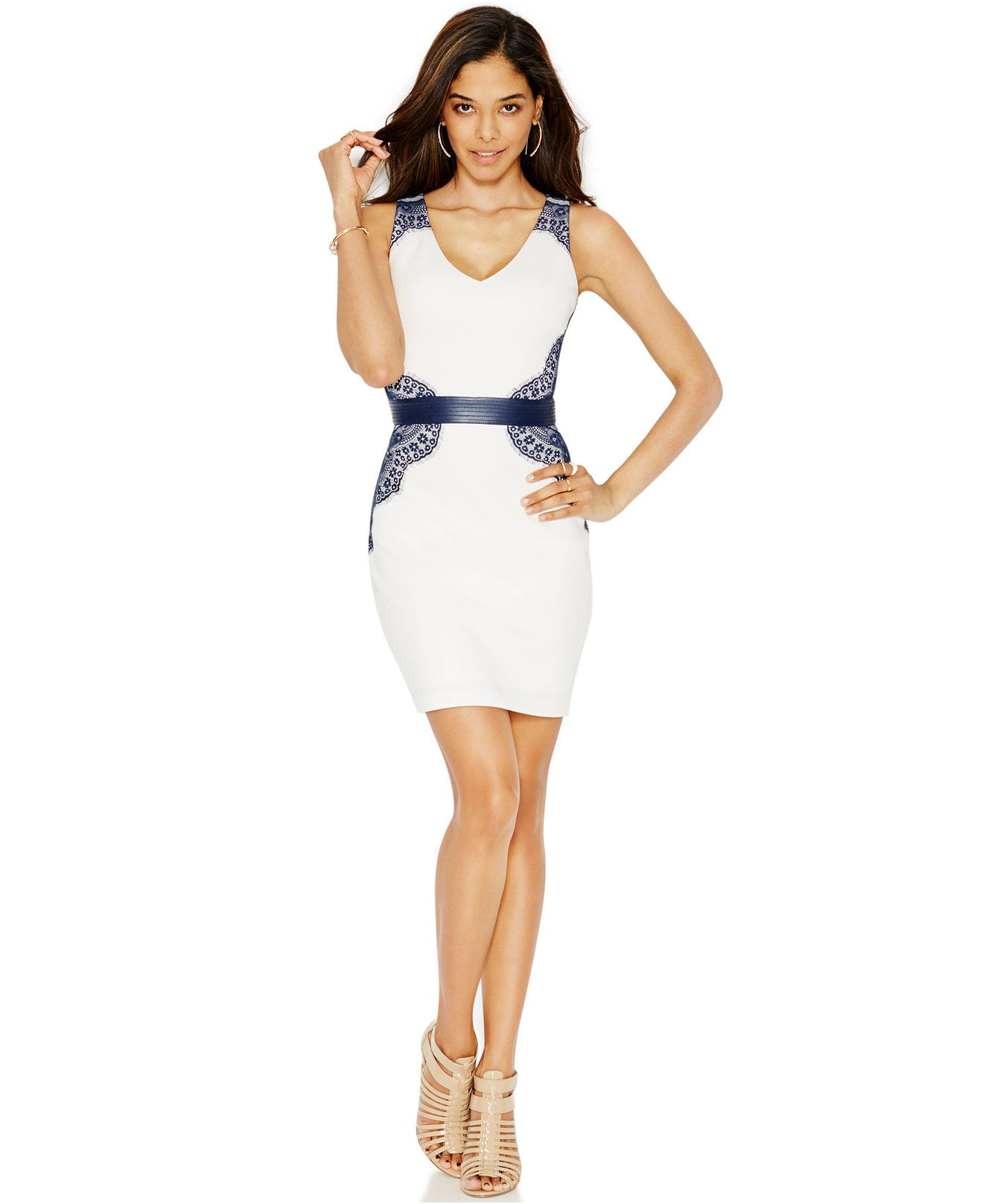 GUESS Lace Belted Bodycon Dress - Dresses - Women - Macy's ...