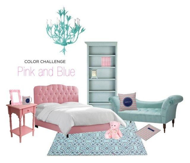 """Pink and blue home. #pinkandblue #colorchallenge"" by rosewoodandcitrus ❤ liked on Polyvore featuring interior, interiors, interior design, home, home decor, interior decorating, Fatboy, Ballard Designs, Skyline and Stray Dog Designs"
