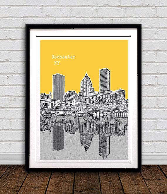 Rochester New York Skyline Art Print City Poster By