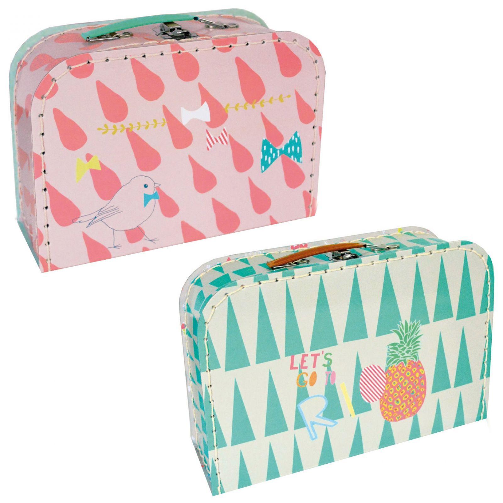 Set de deux valisettes Rio vert et rose : Mimi'lou - Valisette décorative - Berceau Magique