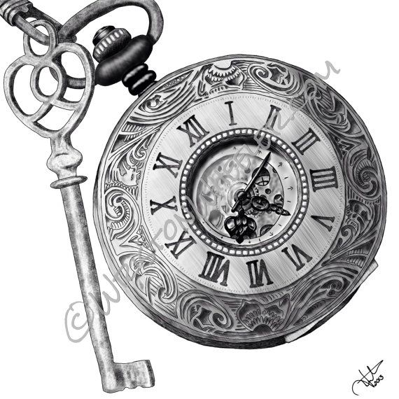 Timing Is Key A Digital Drawing Of And By WristonWheeler 1000 Old Clock TattooClock