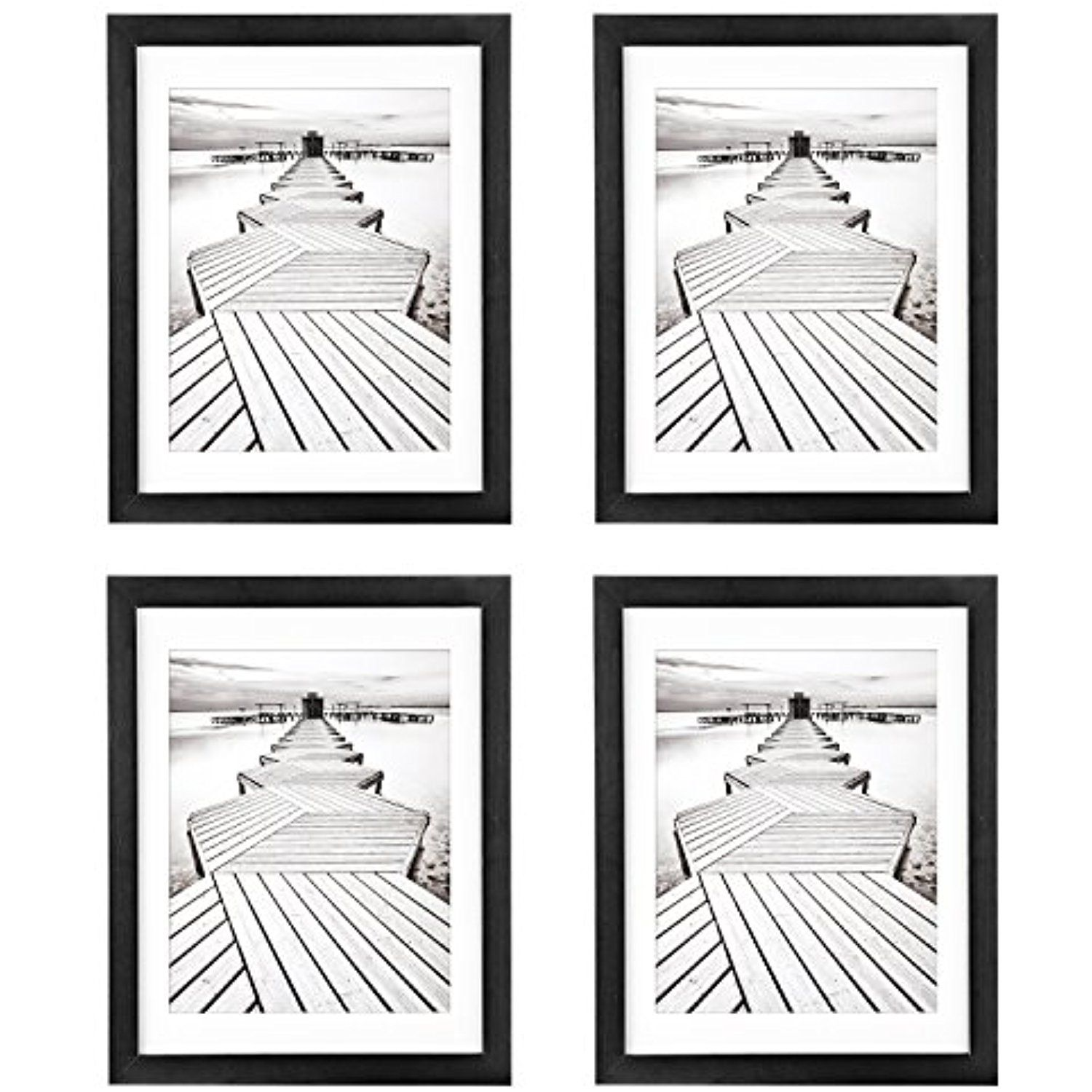 11x14 Black Picture Frames 4 Pack Unitystar Wood Photo Frames Sized 11x14 Inch No Mat 8x10 With Mat Soli Wood Photo Frame Black Picture Frames Picture Frames