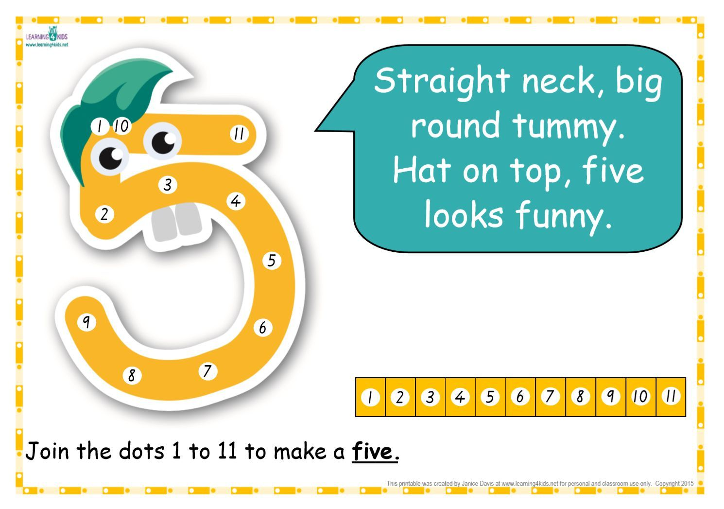 Dot To Dot Number Rhyme Charts Standard Print