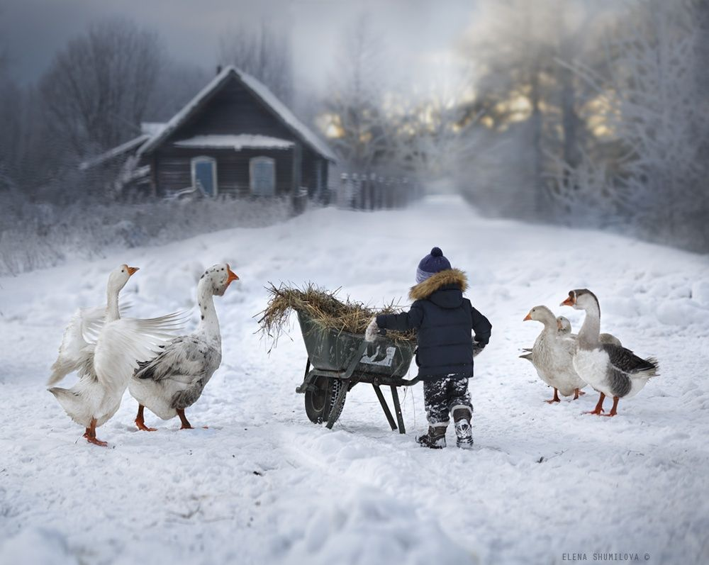 Talented Russian photographer, Elena Shumilova, enjoying farm life with her two children and farm animals on her farm in Russia.