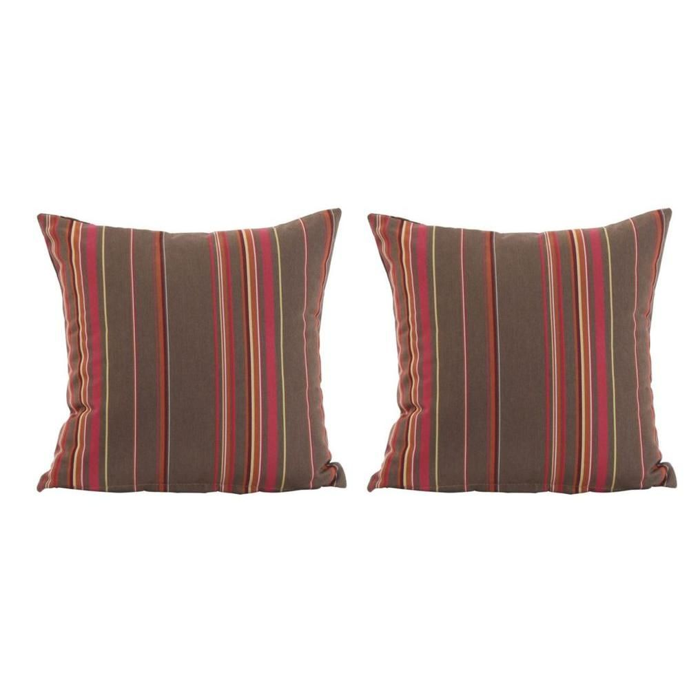 Hampton Bay Moreno Valley Stripe Replacement Outdoor Square Accent Pillows (2-Pack)