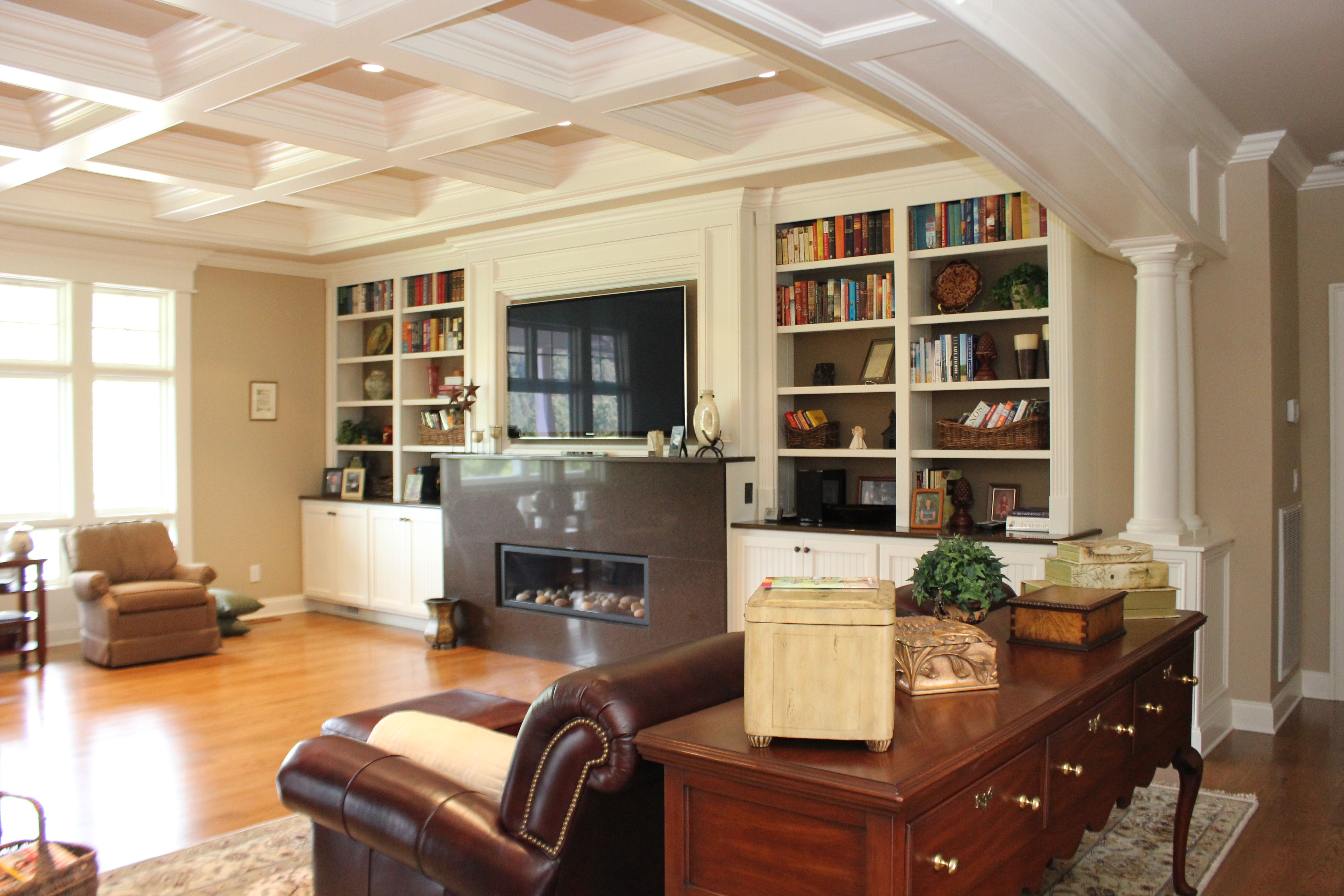 living room wall cabinets built%0A Room    Coffered Ceiling Living room  Custom builtin shelving