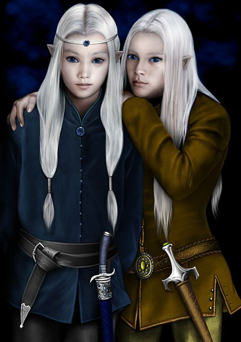 A sister is a good thing to have. Especially if she is brave. I had the bravest sister who ever was. Put the frightened one in pink and the brave one in blue and it could be a portrait of Once Upon a Time. Even that matching long white hair.