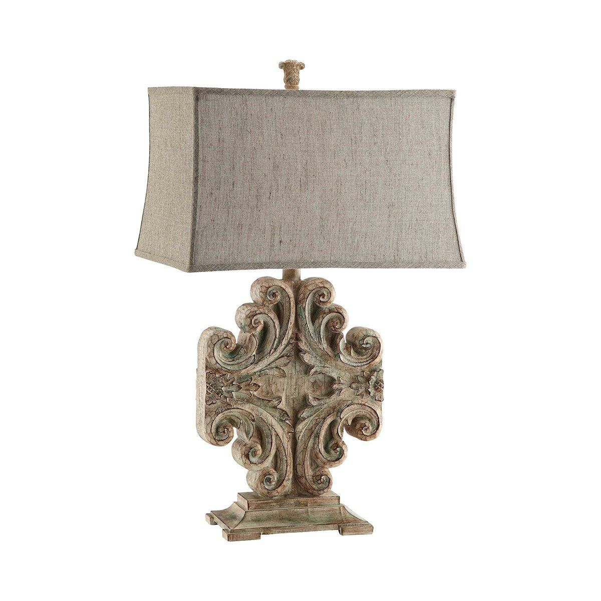 vintage carved pattern resin table lamp in driftwood like finish rh pinterest com