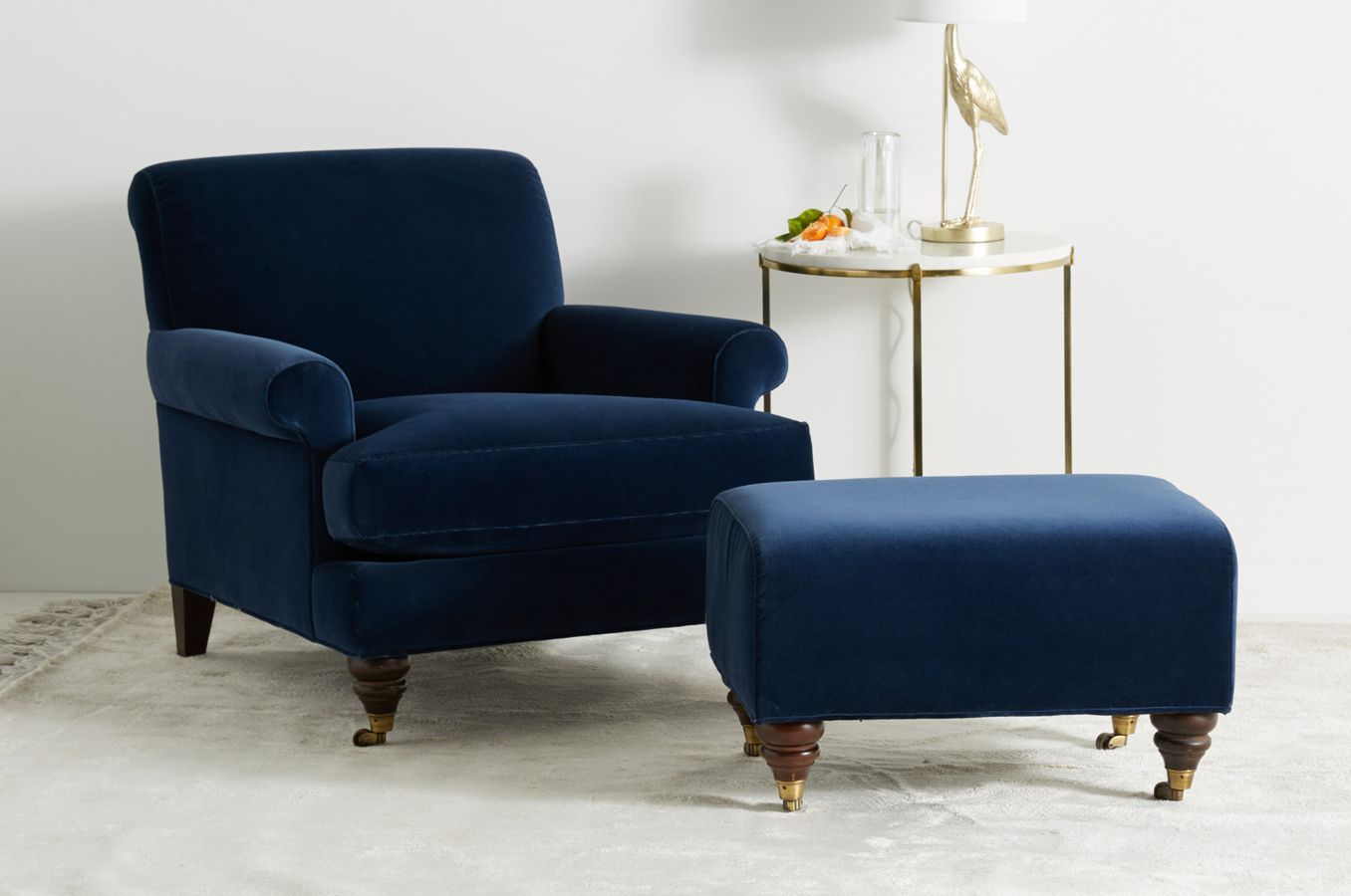 Willoughby Chair | Chair, ottoman, Chair, Blue velvet chairs