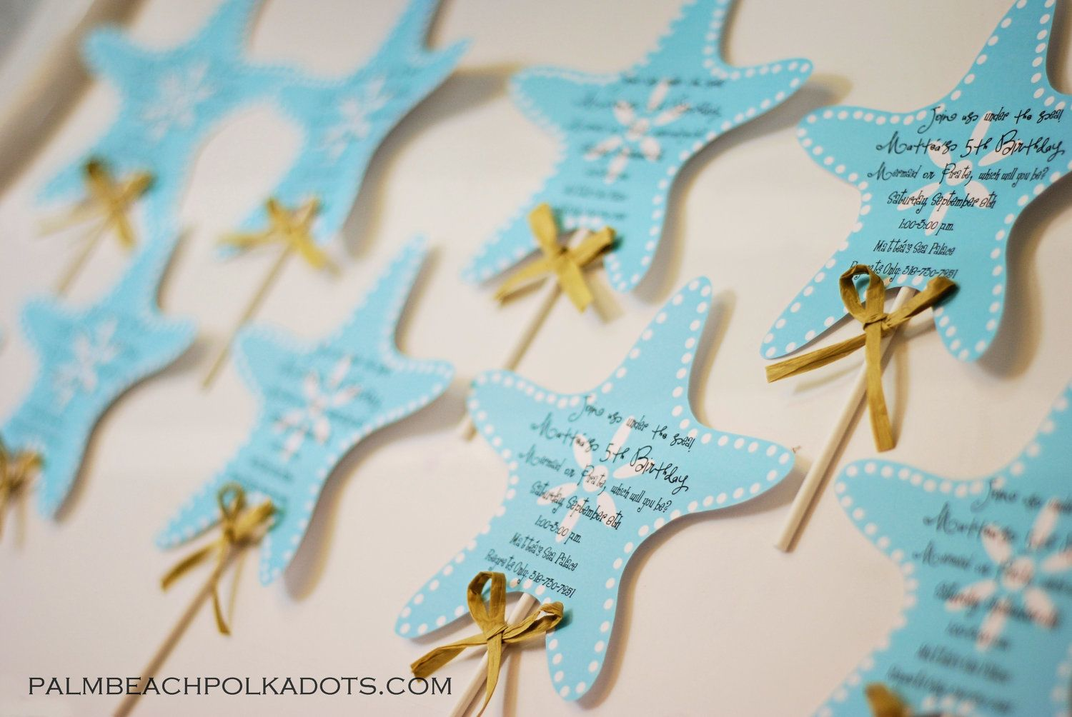 handmadest birthday party invitations%0A Under the Sea Starfish Wand Birthday Invitation         via Etsy