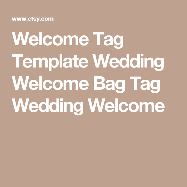 Welcome Tag Template Wedding Welcome Bag Tag Wedding Welcome