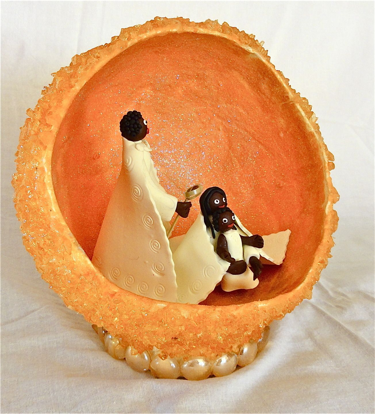 african nativity scene clay creche de noel africaine argile polym re orange et blanc cr ches. Black Bedroom Furniture Sets. Home Design Ideas