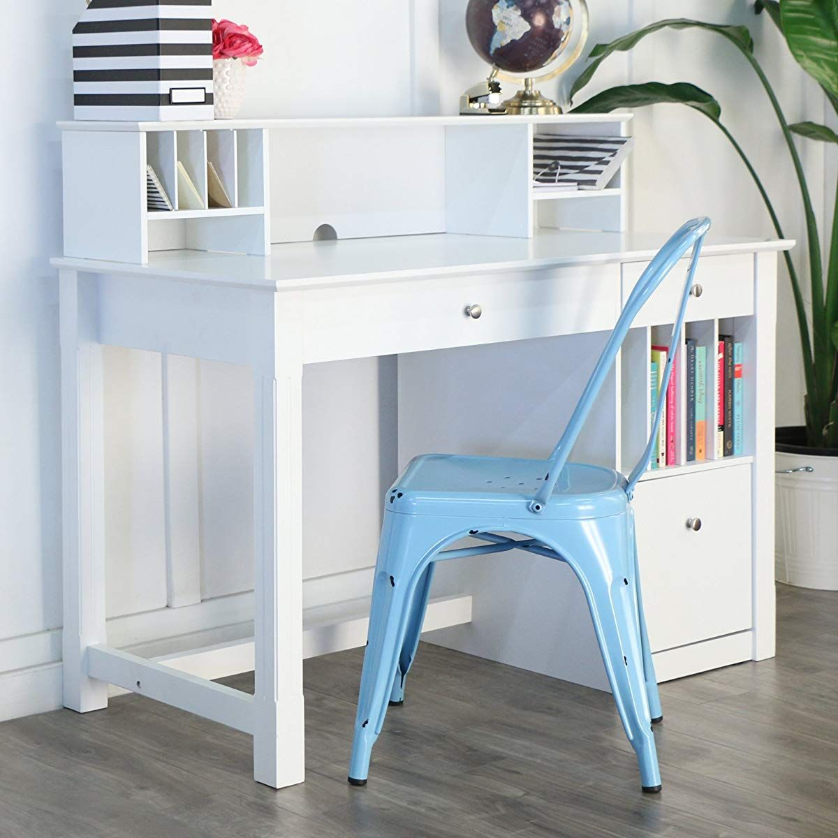 white wood deluxe storage computer desk with hutch office desk rh pinterest com