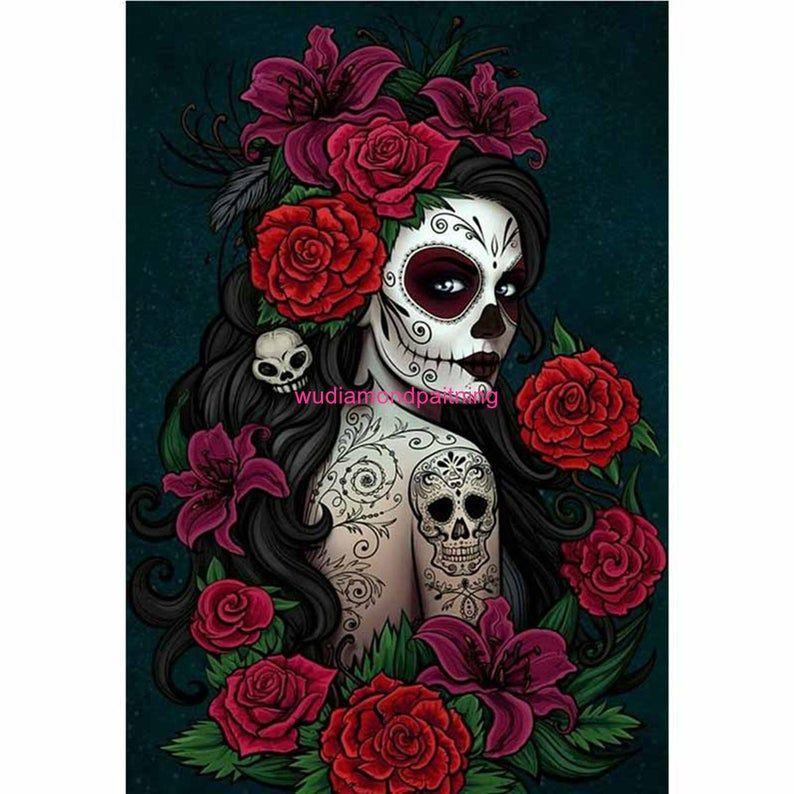 Full Square/Round Drill 5D DIY Skull Girl Flower D