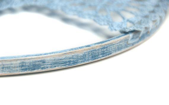 Gran azul búho Shabby Chic crochet búho vivero por DreamcatchersUA