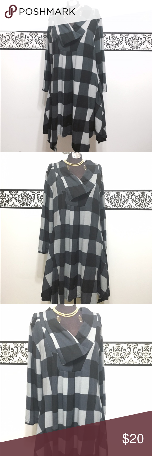 Reborn Cotton Goth Tunic Dress, Size XL This soft cotton tunic by Reborn combines style and comfort. The black and gray shades are perfect to pair with your favorite leggings. The fabric has a ton of strength ch and the handkerchief bottom makes it fun and whims full. Only worn once! Bust 38 inches, waist 36, length 41. Embrace your inner gothic or rockabilly diva! Reborn Dresses Midi