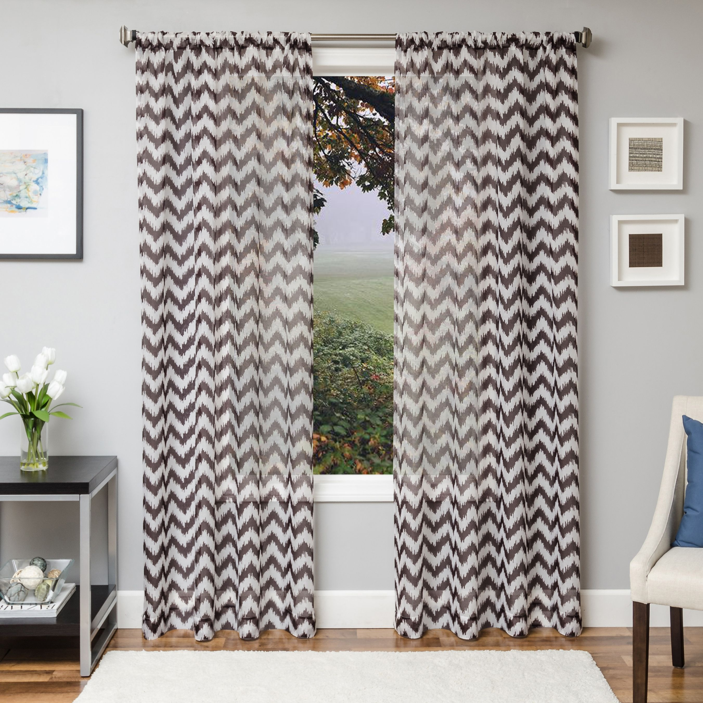 Lyra 96 Sheer Chevron Panel Curtain Chocolate Sheer Curtain