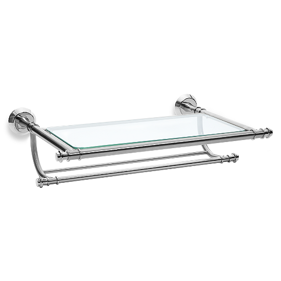 Bbb 39 99 This Handsome Wall Mounted Rack With Two Towel Bars Includes A Tempered Glass Shelf And Glass Shelves In Bathroom Vintage Bathrooms Glass Bathroom