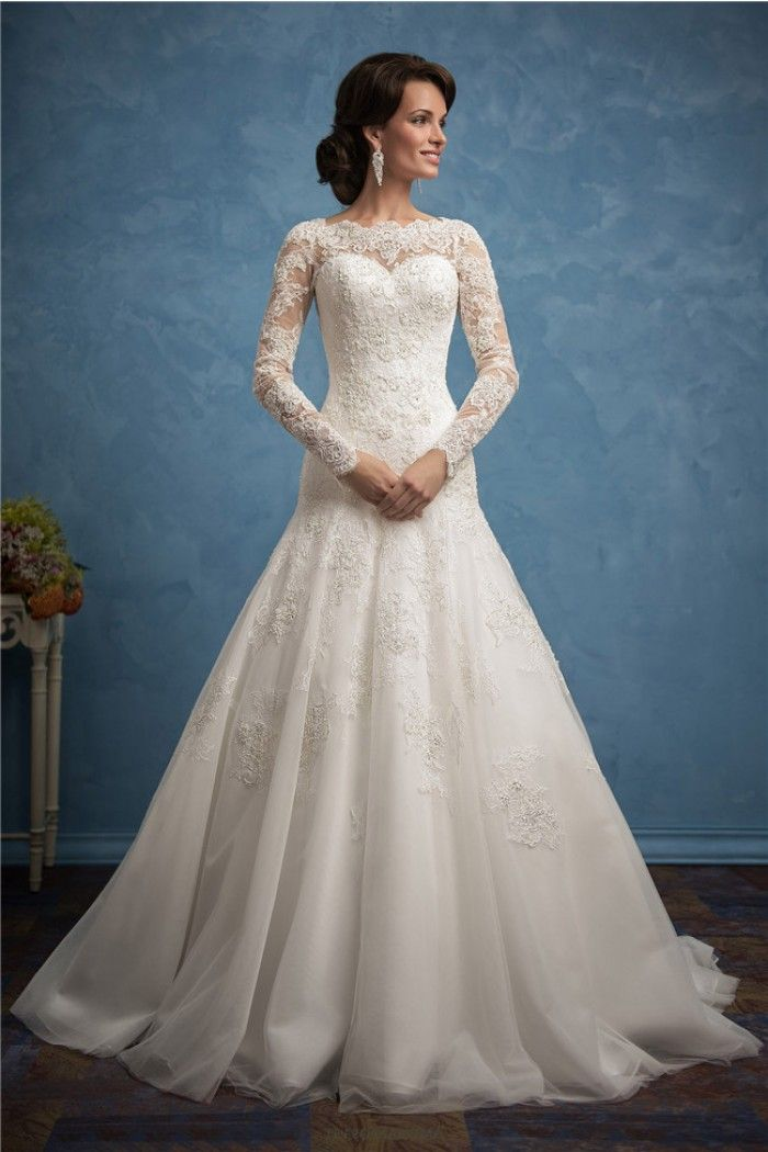 Modest Trumpet High Neck Long Sleeve Tulle Lace Wedding Dress With ...