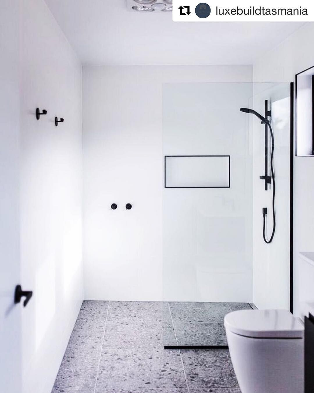 A Beautiful Bathroom By Luxebuildtasmania Using Our Terrazzo Grey Matt 600x600 And Easy White Matt 300x60 Beautiful Bathrooms Bathroom Interior Green Bathroom