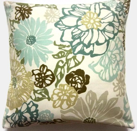 Decorative Pillow Cover Teal Mint Green Olive Green Brown Modern Floral Toss Throw Accent 16 Inch Living Room