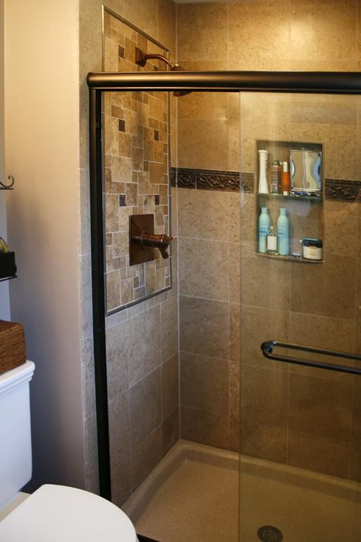Travertine Tile Shower With Mosaic Inserts And Inset Shelf Tags Travertine