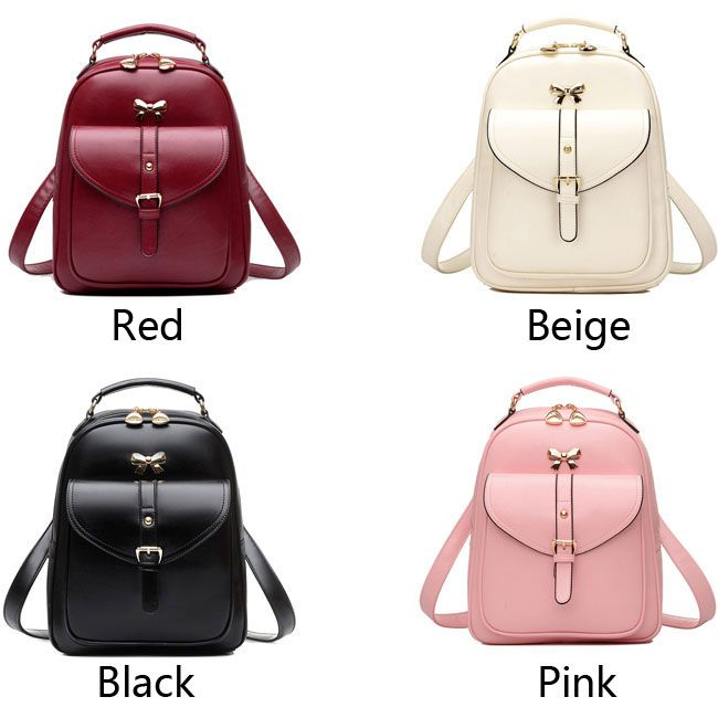 Cute Girls' Bow Buckle Student Bag Simple PU College Backpack only ...