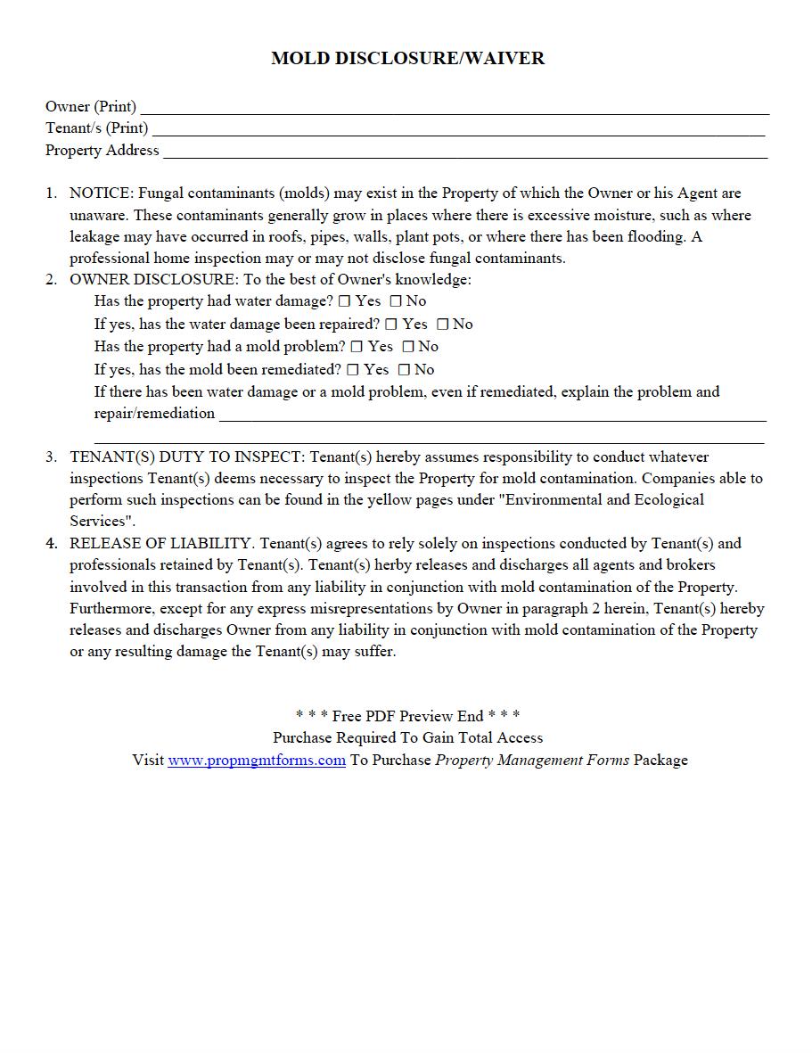 mold disclosure waiver pdf property management forms pinterest