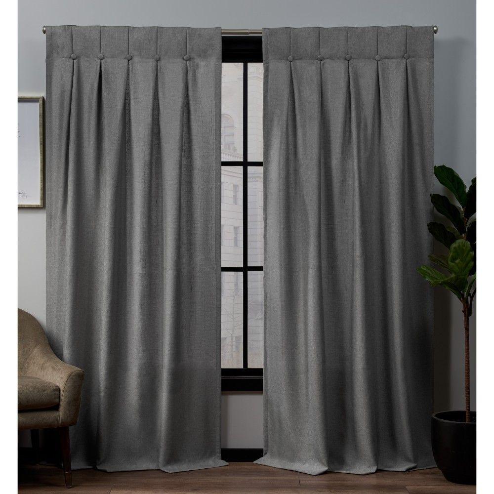 32 X96 Loha Linen Button Top Window Curtain Panel Pair Black