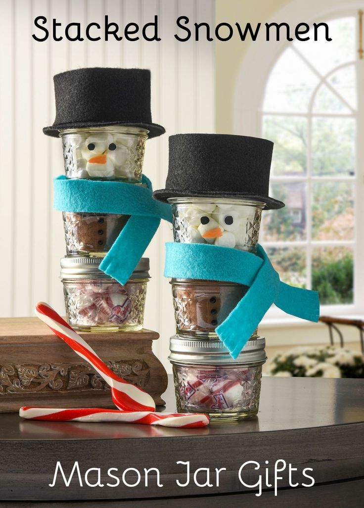 Christmas gifts Stacked snowman hot cocoa mason
