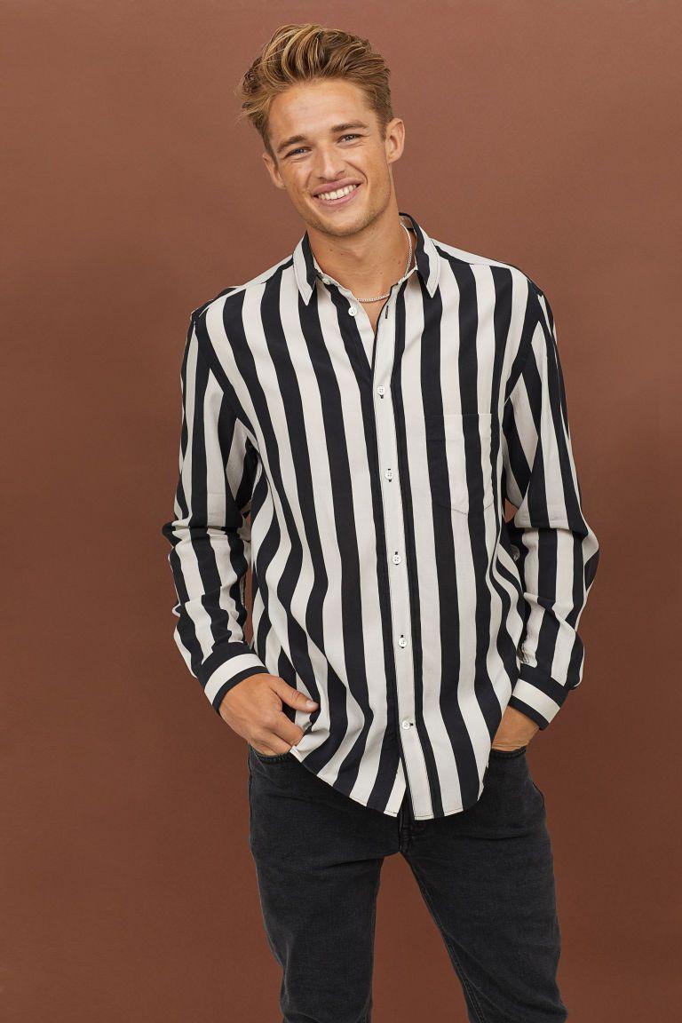 b848cfd466a3 Cupro-blend Shirt - Natural white/black striped - Men | H&M US 1