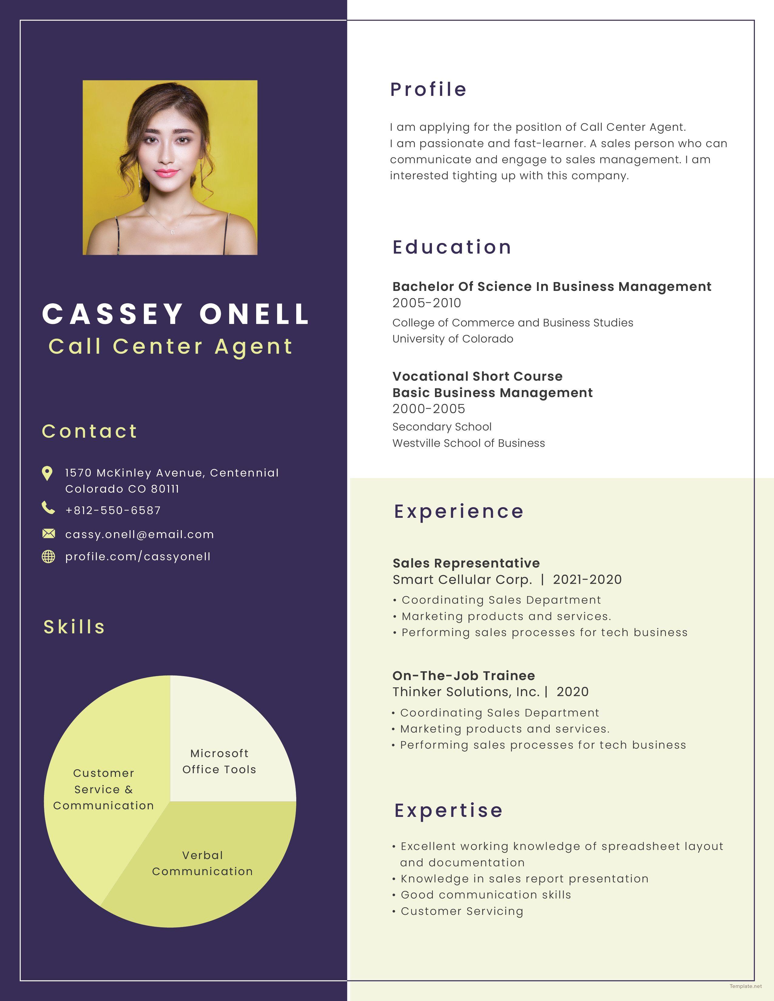 Free no experience call center resume call center