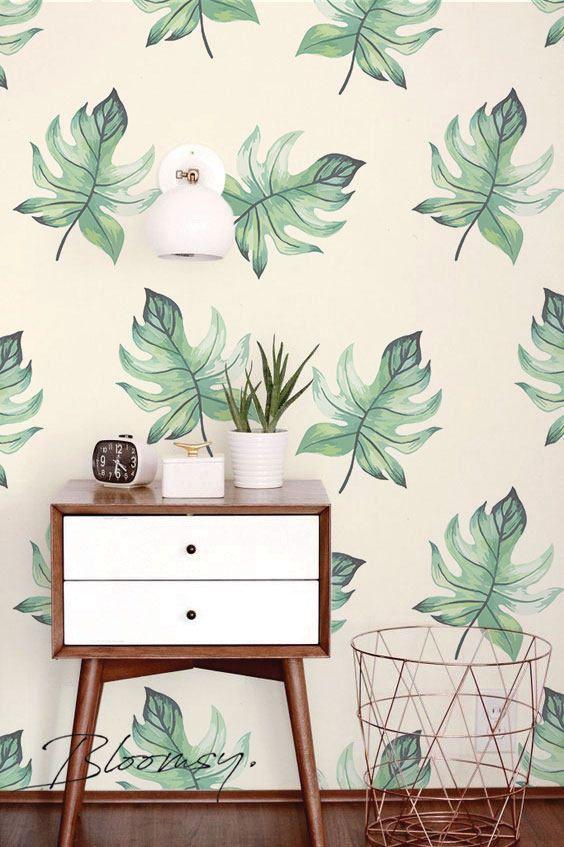 removable wallpaper tropical leaves wallpaper tropical wallpaper rh pinterest com