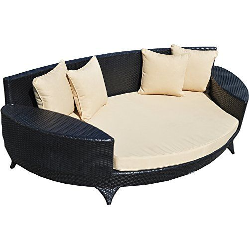 Love Sofa \/ Day Bed Black All Weather Synthetic Rattan Garden - gartenliege rattan braun