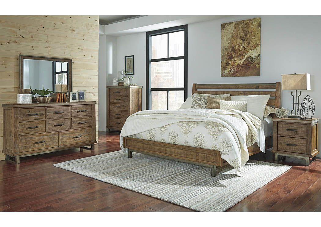 Dondie Warm Brown Queen Sleigh Platform Bed